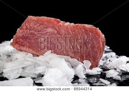 Big Tuna Steak On Ice.