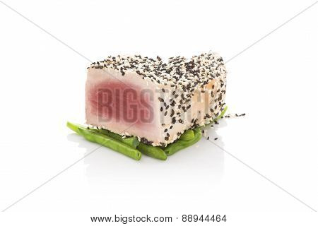 Grilled Tuna Steak Isolated On White.