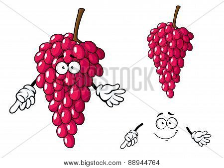 Cartoon bunch of red grape fruit character