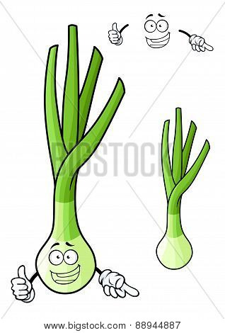 Funny spring onion vegetable cartoon character