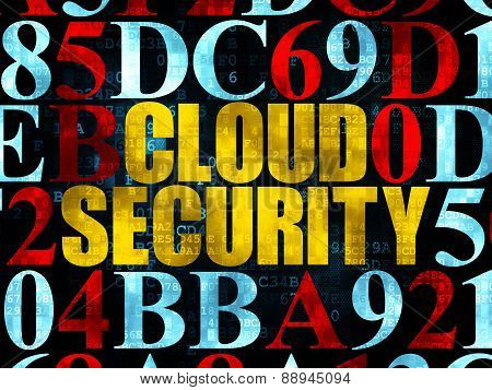 Protection concept: Cloud Security on Digital background