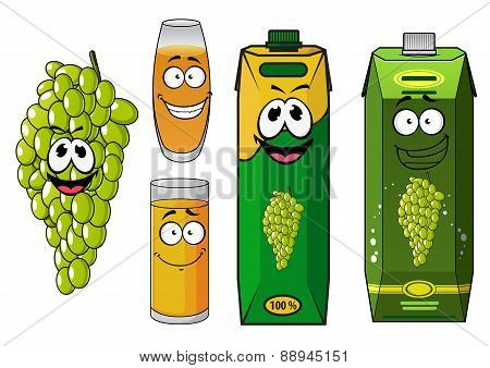 Funny natural green grape fruit and juice cartoon characters