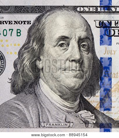 Benjamin Franklin portrait on 100 dollars banknote