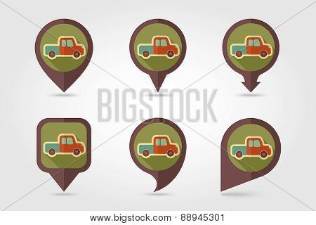 Pickup truck flat mapping pin icon with long shadow