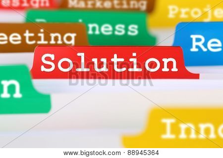 Solution For Problem Business Concept Office Text On Register In Documents