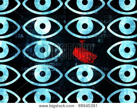 Protection concept: cctv camera icon on Digital background
