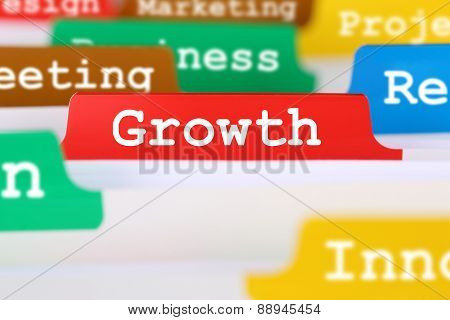Growth With Success Office Business Concept Text On Register In Documents