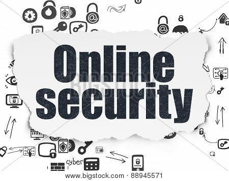 Safety concept: Online Security on Torn Paper background