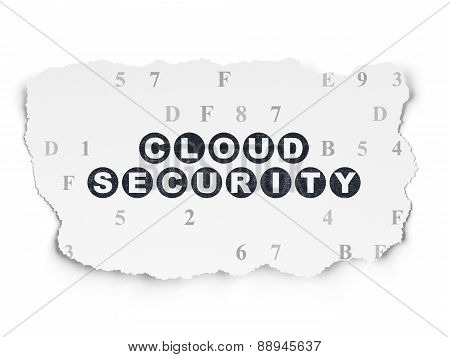 Safety concept: Cloud Security on Torn Paper background
