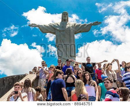 RIO DE JANEIRO - CIRCA NOV 2014: Tourists at the Christ the Redeemer, located on top of Corcovado, in Rio de Janeiro, Brazil.