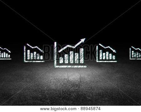 Finance concept: growth graph icon in grunge dark room