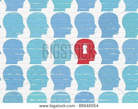 Business concept: head with keyhole icon on wall background