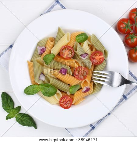 Italian Cuisine Colorful Rigatoni Noodles Pasta Meal From Above