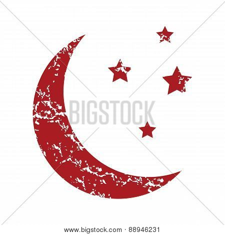 Red grunge moon logo