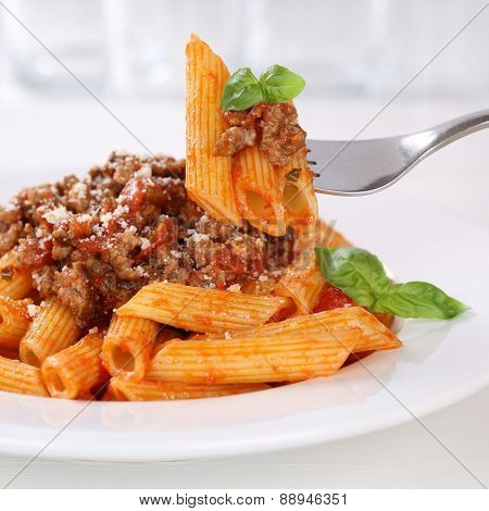 Italian Cuisine Eating Penne Rigatoni Bolognese Sauce Noodles Pasta Meal