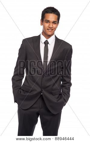 Smart Young Man Wearing Black Suite.