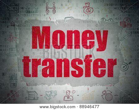 Finance concept: Money Transfer on Digital Paper background