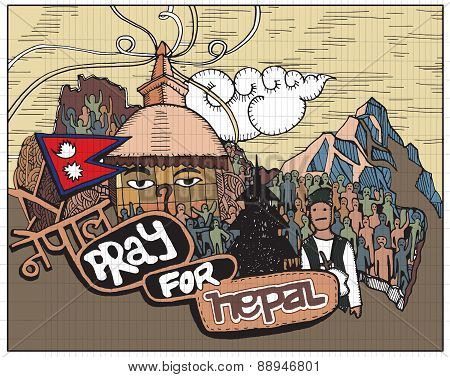 Pray For Nepal ,hand Drawn Style.vector Illustration.