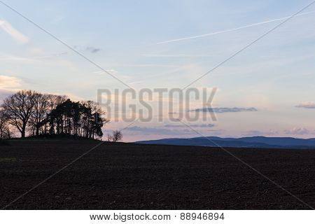 Spring Landscape At Sundown