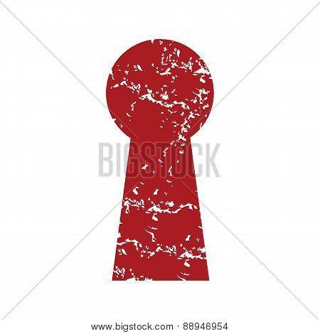 Red grunge keyhole logo