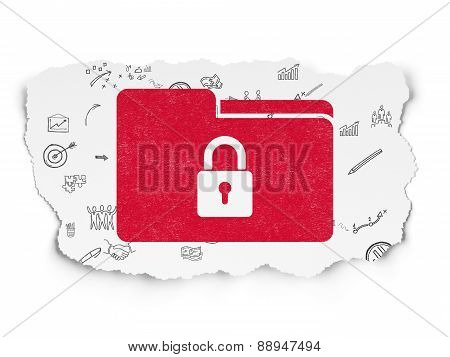 Finance concept: Folder With Lock on Torn Paper background