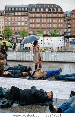 People Protesting Manifestation Die-in Against Immigration Policy And Border Management