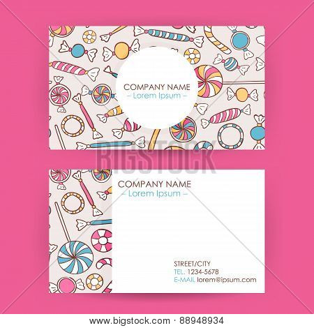Business Card Hand Drawn Candy Sweets Background
