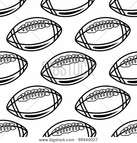 Seamless pattern with outline rugby balls