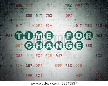 Timeline concept: Time for Change on Digital Paper background