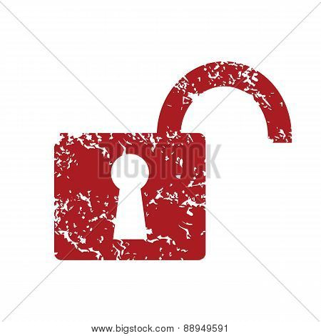 Red grunge unlock logo