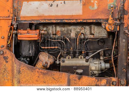 four cylinders tractor engine