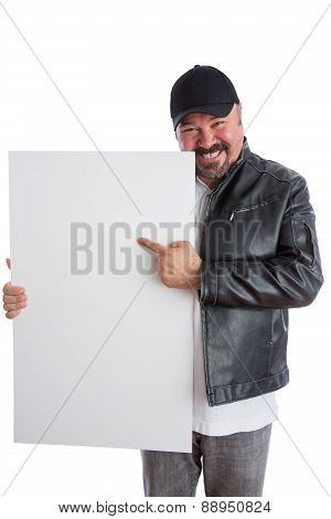 Charismatic Man Pointing To A Blank White Sign