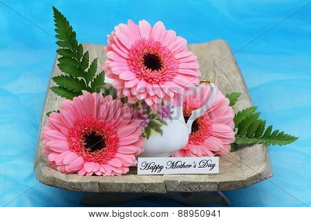 Happy Mother's day card with pink gerbera flowers