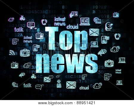News concept: Top News on Digital background