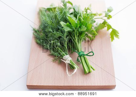 Two Tied Bunch Of Dill And Parsley