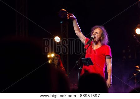 Singer Vasilis Papakonstantinou Performing Live For An Audience At The Auditorium Of Siviri In Greec