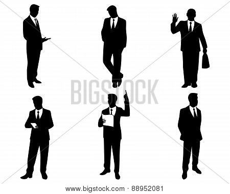 Six Businessman Silhouettes