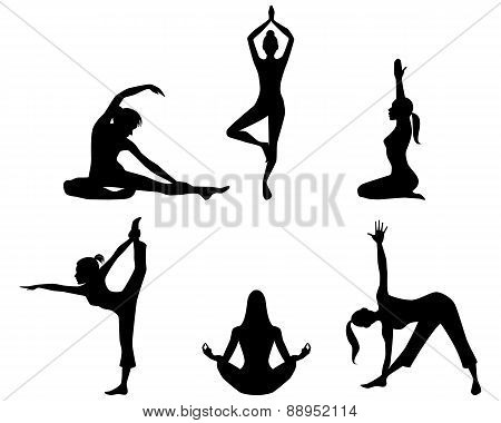 Girls Practicing Yoga Silhouettes