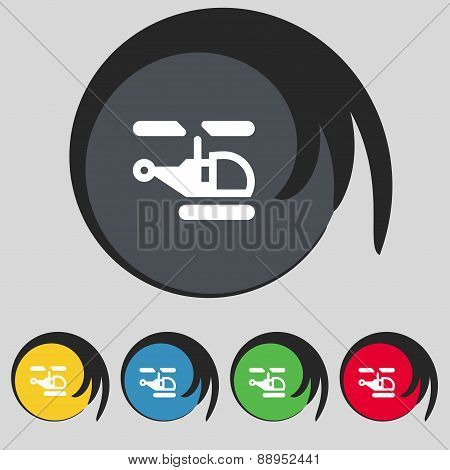 Helicopter Icon Sign. Symbol On Five Colored Buttons. Vector
