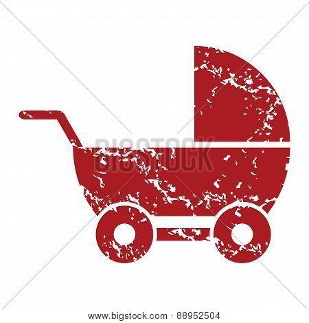 Red grunge baby carriage logo