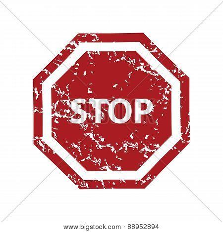 Red grunge stop logo