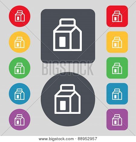 Milk, Juice, Beverages, Carton Package Icon Sign. A Set Of 12 Colored Buttons. Flat Design. Vector