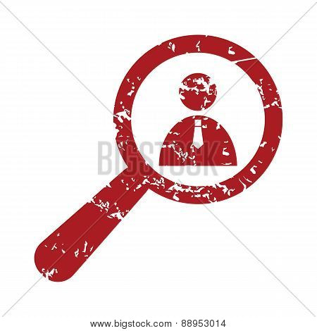 Red grunge search person logo