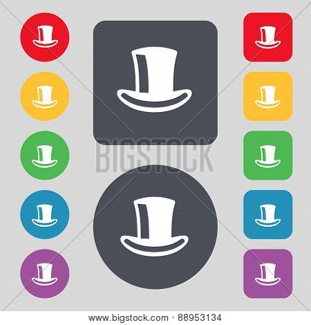 Cylinder Hat Icon Sign. A Set Of 12 Colored Buttons. Flat Design. Vector