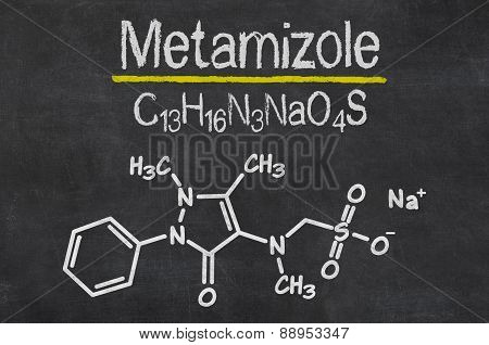 Blackboard With The Chemical Formula Of Metamizole