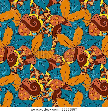 Doodle hand drawn background with seamless pattern in swatch panel.