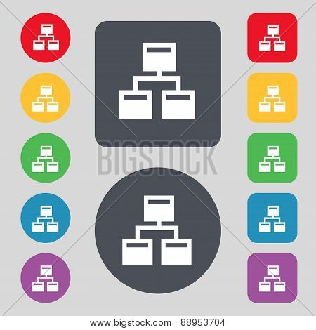 Local Network Icon Sign. A Set Of 12 Colored Buttons. Flat Design. Vector