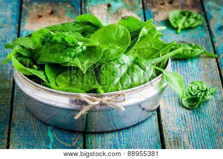 Raw Fresh Organic Spinach In A Bowl