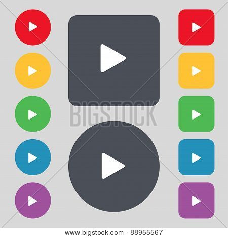 Play Icon Sign. A Set Of 12 Colored Buttons. Flat Design. Vector