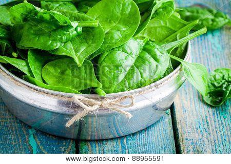 Raw Fresh Organic Spinach In A Bowl Closeup